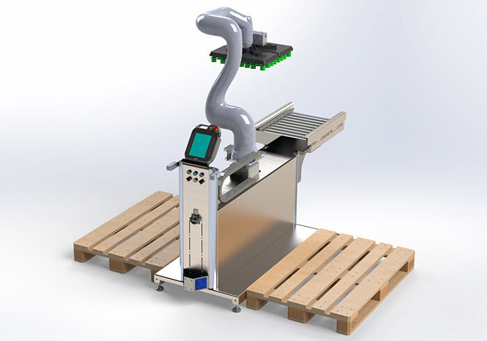 Introducing the new Cobot End of Line Palletiser from Phoenix Handling Solutions Combined with our Nipper Automated Guided Vehicle